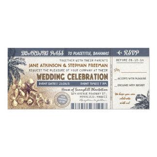 boletos del documento de embarque del boda invitación 10,1 x 23,5 cm