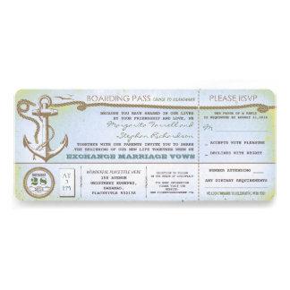 boletos del paso-vintage del embarque del boda con comunicados