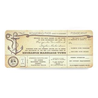 boletos del paso-vintage del embarque del boda con invitación