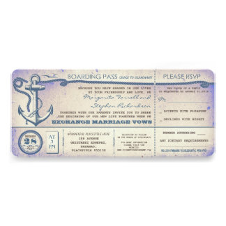 boletos del paso-vintage del embarque del boda con invitaciones personales