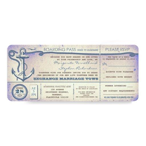 boletos del paso-vintage del embarque del boda con invitación 10,1 x 23,5 cm