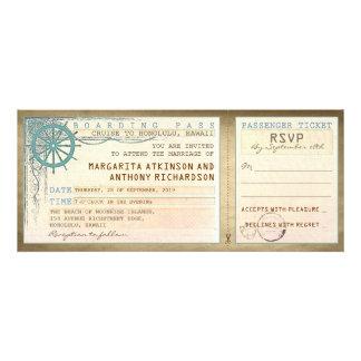boletos del paso-vintage del embarque del boda con anuncio personalizado