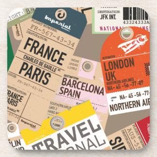 Boletos del viaje del vintage posavasos de bebidas