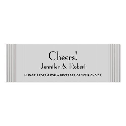 Boletos elegantes de la bebida del boda de la raya tarjetas de visita mini