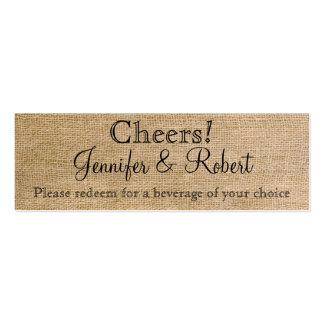 Boletos elegantes de la bebida del boda de la tarjetas de visita mini