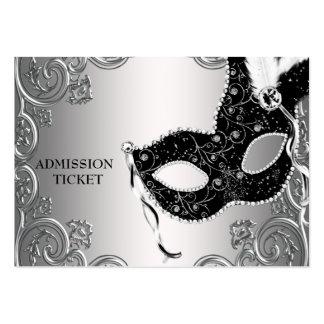 Boletos negros de plata de la admisión del fiesta tarjetas de visita grandes