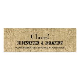 Boletos occidentales de la bebida del boda de la tarjetas de negocios