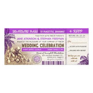 boletos púrpuras del documento de embarque del bod invitaciones personalizada