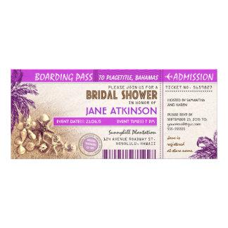 boletos púrpuras del documento de embarque para la invitación