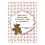 Boletos rosados de la rifa del pañal de la fiesta tarjetas de visita