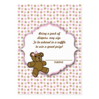 Boletos rosados de la rifa del pañal de la fiesta tarjetas de visita grandes