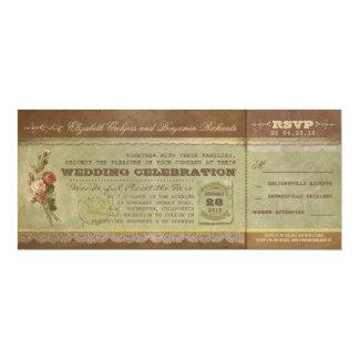 """Boletos rústicos del boda del vintage con RSVP Invitación 4"""" X 9.25"""""""