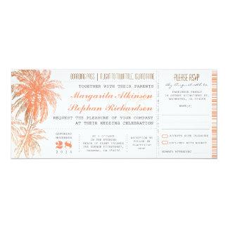 """Boletos tropicales del boda del destino invitación 4"""" x 9.25"""""""