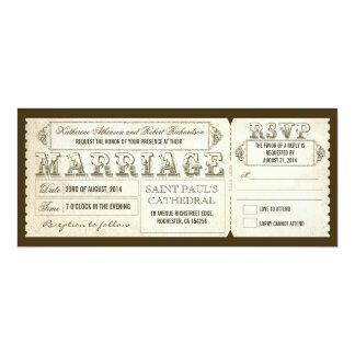 """boletos y RSVP del boda del vintage Invitación 4"""" X 9.25"""""""
