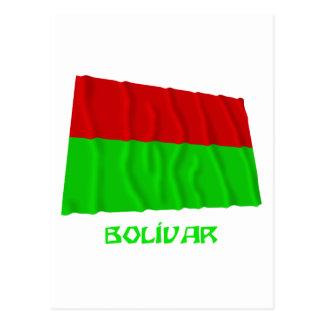 Bolívar waving flag with Name Postcard