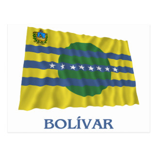 Bolívar Waving Flag with Name Postcard