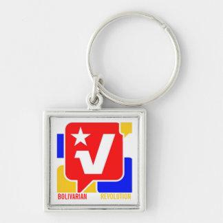 BOLIVARIAN REVOLUTION Silver-Colored SQUARE KEYCHAIN