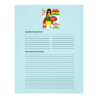 Bolivia blank meat recipe cards