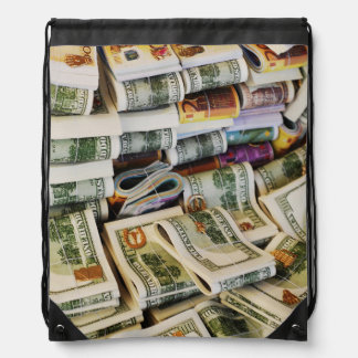 Bolivia, Copacabana, Close-Up Of Piled Bundle Cinch Bags