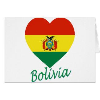 Bolivia Flag Heart Cards