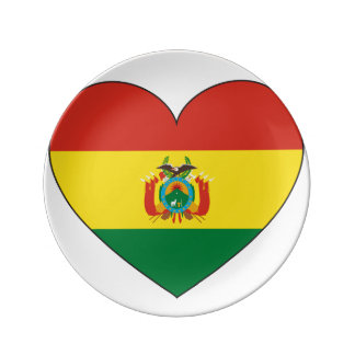Bolivia Flag Heart Dinner Plate