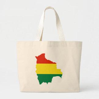 Bolivia Flag map BO Canvas Bags