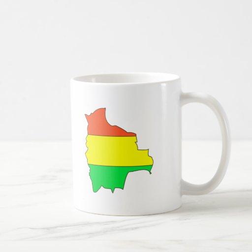 Bolivia flag map mugs