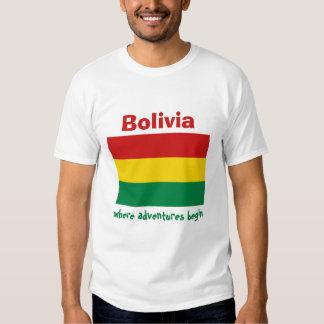 Bolivia Flag + Map + Text T-Shirt