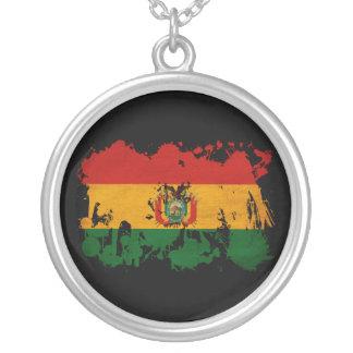 Bolivia Flag Round Pendant Necklace