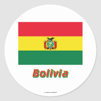 Bolivia Flag with Name Classic Round Sticker