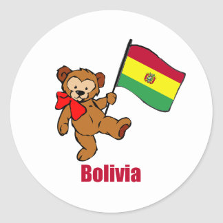 Bolivia Teddy Bear Classic Round Sticker