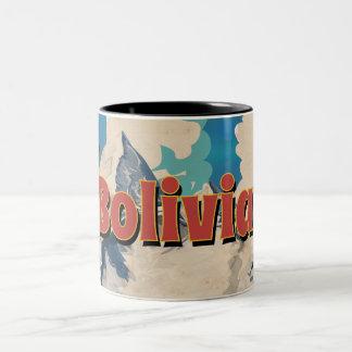 Bolivia Vintage Travel Poster Two-Tone Coffee Mug