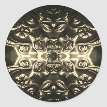 Aztec Themed Bolivian Armor Embossing Art Classic Round Sticker