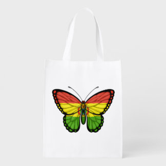Bolivian Butterfly Flag Grocery Bags