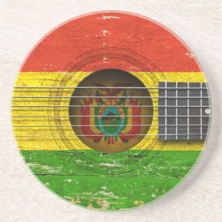 Bolivian Flag on Old Acoustic Guitar Beverage Coasters