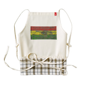 Bolivian Flag on Rough Wood Boards Effect Zazzle HEART Apron