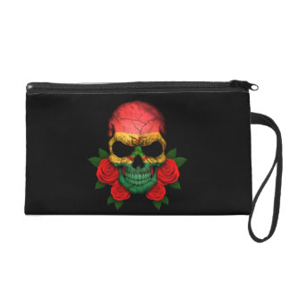 Bolivian Flag Skull with Red Roses Wristlet