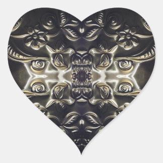 Bolivian Heart Embossing Art Heart Sticker