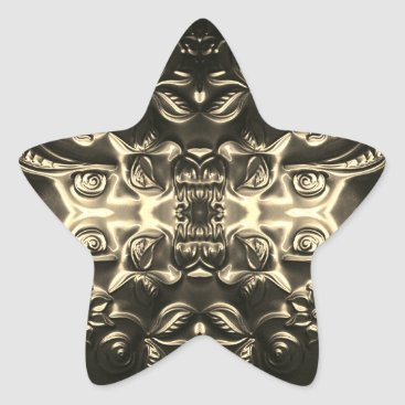 Aztec Themed Bolivian Star Embossing Art Star Sticker