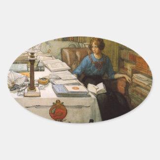 Bolla en la biblioteca pegatina ovalada