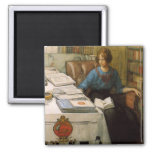 Bolla in the Library 2 Inch Square Magnet