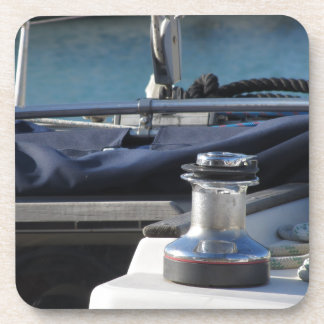 Bollard and mooring ropes on sailing boat bow drink coaster