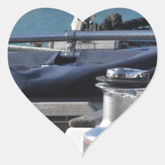 Bollard and mooring ropes on sailing boat bow heart sticker