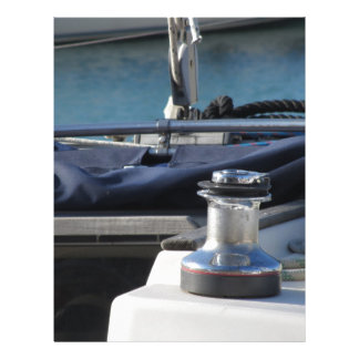Bollard and mooring ropes on sailing boat bow letterhead