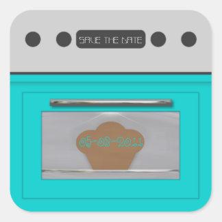 Bollo en el horno; ahorre la pegatina-aguamarina pegatina cuadrada