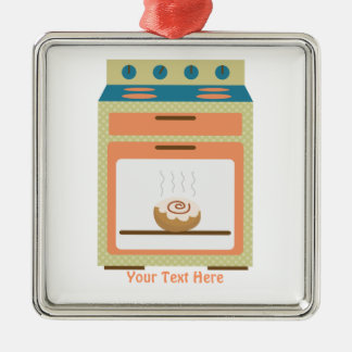 Bollo en el horno (personalizable) adorno navideño cuadrado de metal