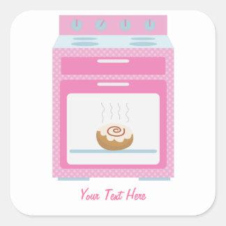 Bollo en el horno (personalizable rosado) pegatina cuadrada