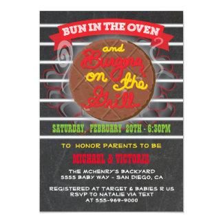 """Bollo en las hamburguesas del horno en la fiesta invitación 5"""" x 7"""""""