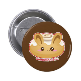 Bollos de Punny: Conejito lindo del canela Pin Redondo De 2 Pulgadas