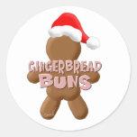 Bollos del pan de jengibre del navidad etiquetas redondas